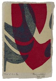 Composition - Original Woodcut On Paper by Silvano Bozzolini - 1958