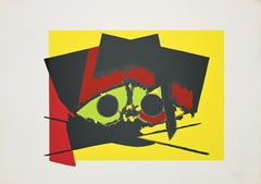 "Composition with Black - Original screen print Signed ""Alfieri"" - 1970s"