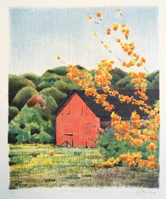 CONNECTICUT BARN Signed Lithograph, New England Landscape, Red Barn, Trees