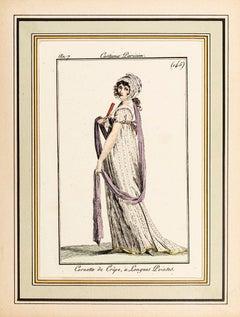 Cornette de Crêpe, à Longues Pointes - Original Etching - 1799