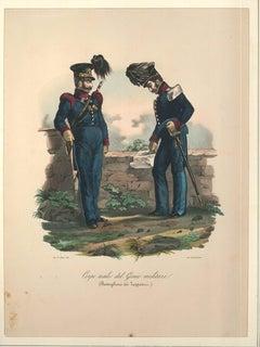Corpo Reale del Genio Militare - Lithograph Mid 1800