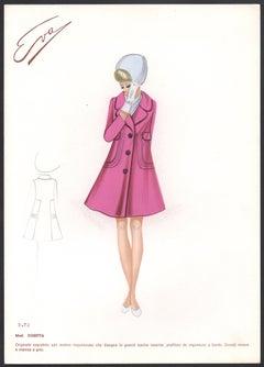 'Cosetta' Italian 1960s Women's Fashion Design Illustration