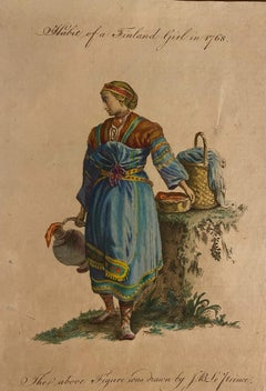Costume of a Finnish Girl - Original Watercolor Etching by J.B. Le Prince