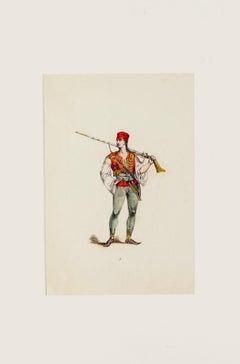 Costume - Original Hand-colored Lithograph - 19th Century
