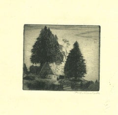 Country Cottage - Original Etching - 19th Century