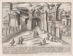 Curia Hostilia, Rome Italy. Jacobs Lauro 17th century engraving