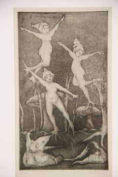 Dancing Putti Abstract  Figurative Engraving
