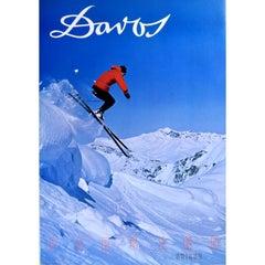Davos, Parsenn Region, Switzerland Vintage Ski Poster (1968)