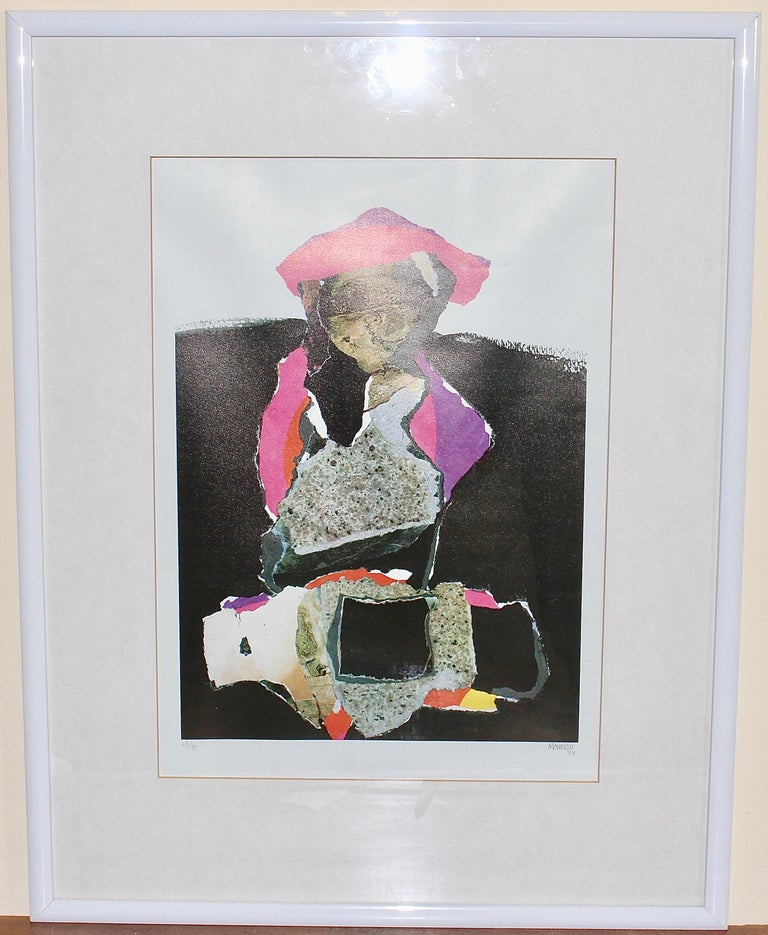 Decorative, abstract lithograph, signed and numbered, 67/90, MANRIQUE. For Sale 1