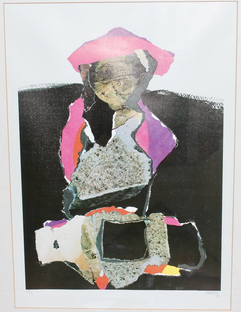 Decorative, abstract lithograph, signed and numbered, 67/90, MANRIQUE. For Sale 2