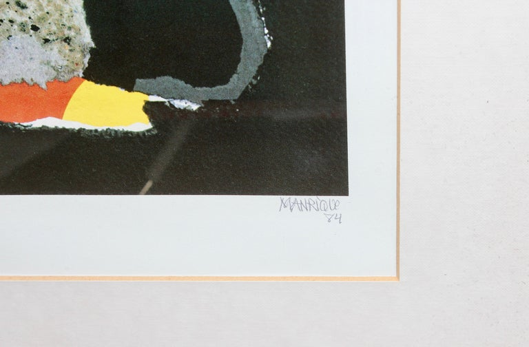 Decorative, abstract lithograph, signed and numbered, 67/90 MANRIQUE  Dimensions with frame.