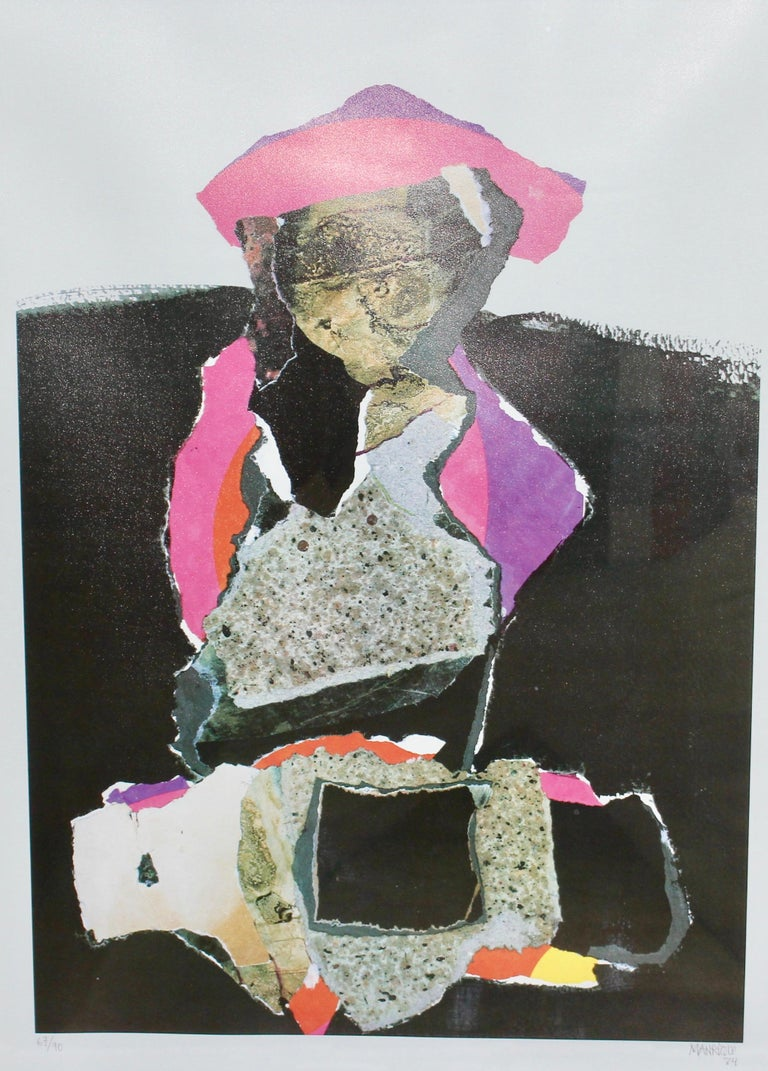Unknown Abstract Print - Decorative, abstract lithograph, signed and numbered, 67/90, MANRIQUE.