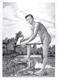 Der Zeichner - Original Etching by Unknown Artist of circle of Max Klinger