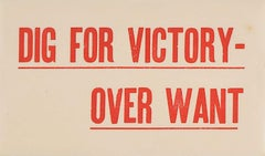 Dig for Victory over Want - World War II public information poster leaflet