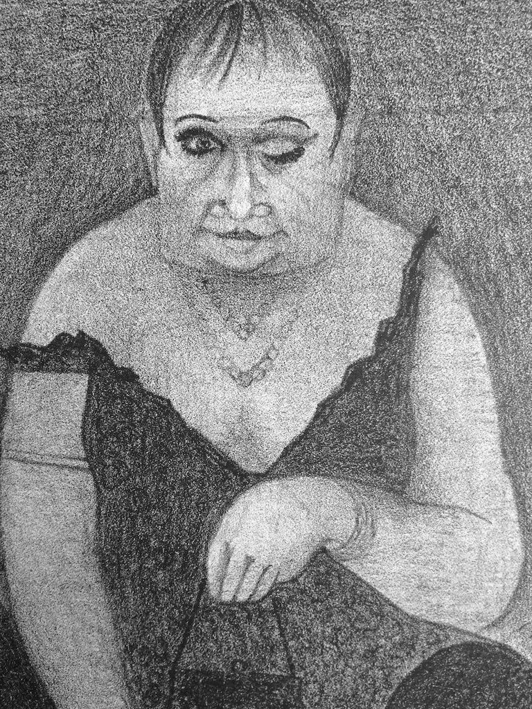 DRAG QUEEN Stone Lithograph, Surreal Portrait Cross-dresser in Slip Dress, Mules - Print by Unknown