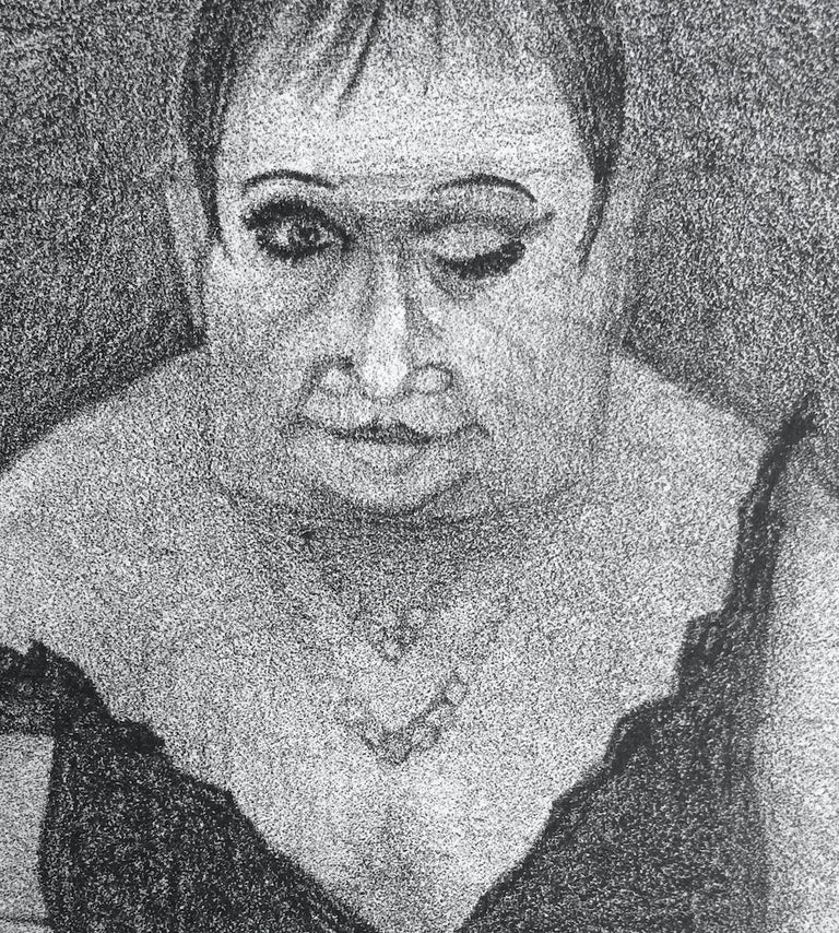 DRAG QUEEN Stone Lithograph, Surreal Portrait Cross-dresser in Slip Dress, Mules - Surrealist Print by Unknown