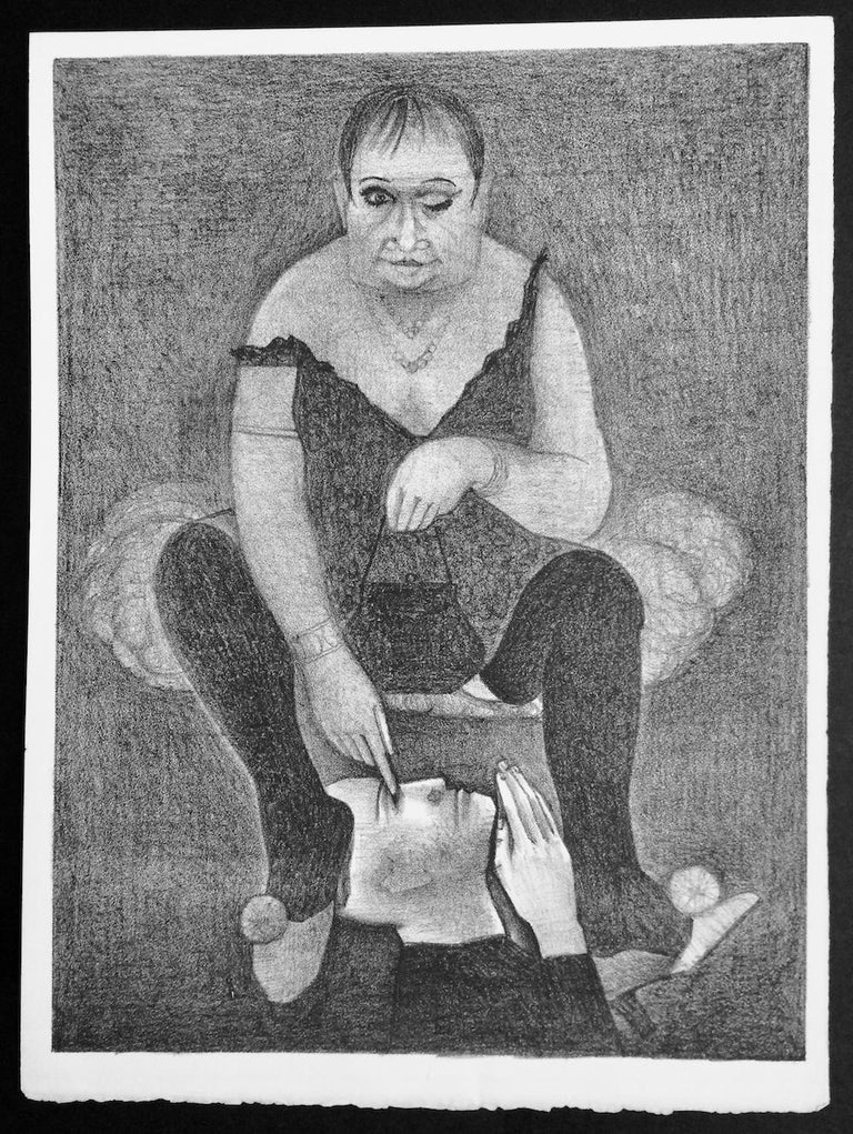 DRAG QUEEN is a superbly executed hand drawn, stone lithograph printed using traditional hand printmaking techniques on archival paper 100% acid free. DRAG QUEEN portrays a seated male cross-dresser wearing a scallop edge slip dress, dark tights,
