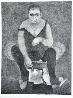 DRAG QUEEN Original Stone Lithograph, Pencil Drawing, Surreal Portrait
