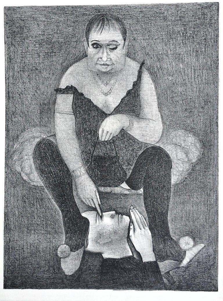 Unknown Portrait Print - DRAG QUEEN Stone Lithograph, Surreal Portrait Cross-dresser in Slip Dress, Mules