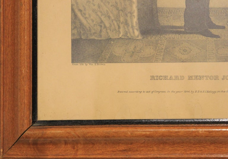 Original Richard Mentor Johnson hand-colored lithography by E. B. & E. C. Kellogg. Signed and dated by artist at bottom right and center. Framed in natural wooden frame.  Dimensions Without Frame: H 16.75 in. x W 12.25 in.  Artist Biography: From