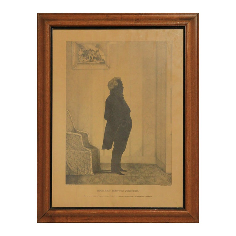 Unknown Portrait Print - Early 19th Century Richard Mentor Johnson Lithograph by E.B. and E.C. Kellogg