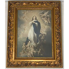 """Early 20th Century """"Assumption of Mary"""" Colored Chromolithograph"""