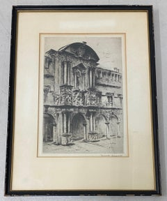 Early 20th Century European Architecture Drypoint Etching c.1930