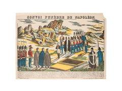 Epinal Print Napoleonic Funeral Convoy - Original Lithograph - 1821
