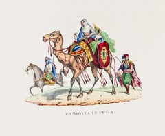 Escape of Arab Family - Original Lithograph Print on Paper - 1846 ca.