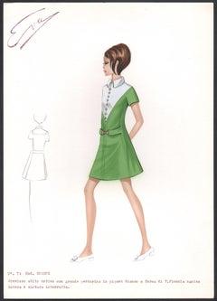 'Eugene' Italian 1960s Women's Fashion Design Illustration