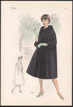 European Mid-Century 1959 Fashion Design Vintage Lithograph Print