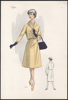 European Mid-Century 1959 Fashion Design Vintage Lithograph Print