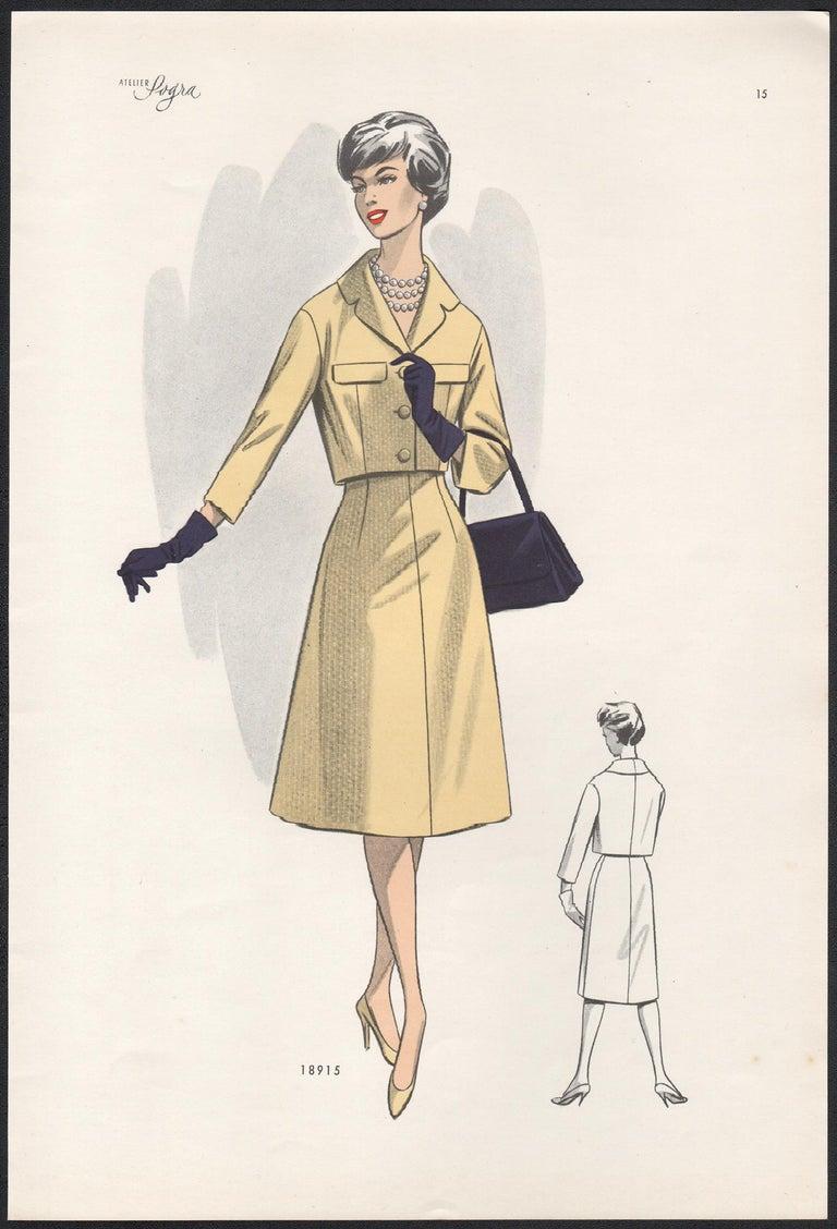 Unknown Figurative Print - European Mid-Century 1959 Fashion Design Vintage Lithograph Print