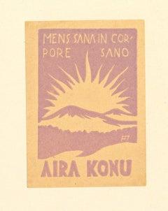 Ex Libris Aira Konu - Original Woodcut Print - Mid-20th Century