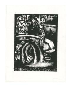 Ex Libris Cseh Lajos Konive - Original Woodcut Print - Early 20th Century