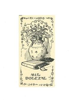 Ex Libris Dolezal - Original Woodcut Print - Mid-20th Century