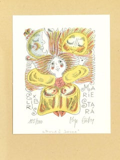 Ex Libris Marie Stra - Original Water-colored Lithograph - Late 20th Century