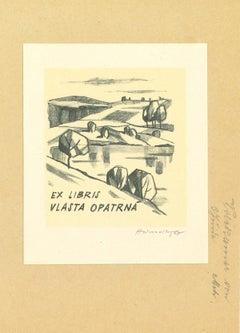 Ex Libris Opatrna - Original Woodcut Print - Mid-20th Century