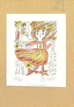 Ex Libris Ruskova - Original Water-colored Lithograph - Late 20th Century