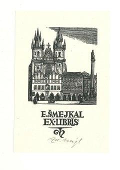 Ex Libris Smejkal - Original Woodcut Print - Mid-20th Century