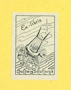 Ex Libris Solveig Skullerud - Original Woodcut Print - 1945
