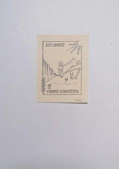 Ex Libris Vibeke Kongstad - Original Woodcut - 1960s