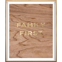 """Family First"" Wood Grain Quote, gold mylar, framed"