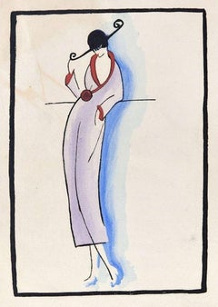 Fashionable Woman / Woodcut Hand Colored in Tempera on Paper - Art Deco - 1920s