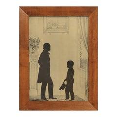Figurative Black Silhouette Portrait of a Victorian Man and Child Print