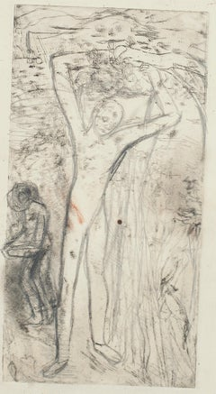 Figure In The Nature - Original Etching - Mid 20th Century