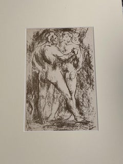 Figure - Original Lithograph by L. Sasso - 20th Century