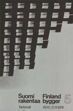 """Finland is Building-47"""" x 31.25""""-Serigraph-1976-Abstract-Black & White, Gray"""