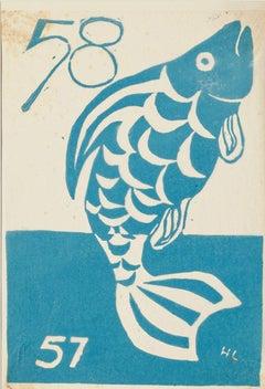 Fish - Original Woodcut on Paper - 1957