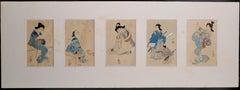 Five Beauties - Set of 5 Original Woodblock Prints - Japan Late 19th Century